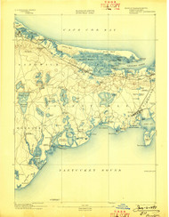 Barnstable, Massachusetts 1893 (1898) USGS Old Topo Map 15x15 Quad