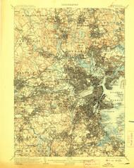 Boston, Massachusetts 1903 (1907) USGS Old Topo Map 15x15 Quad