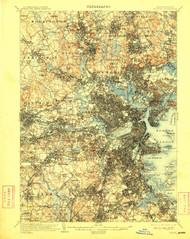 Boston, Massachusetts 1903 (1909) USGS Old Topo Map 15x15 Quad