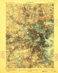 Boston, Massachusetts 1903 (1910) USGS Old Topo Map 15x15 Quad