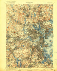 Boston, Massachusetts 1903 (1918) USGS Old Topo Map 15x15 Quad
