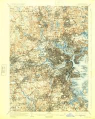 Boston, Massachusetts 1903 (1925) USGS Old Topo Map 15x15 Quad