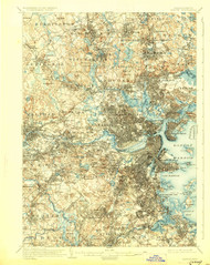 Boston, Massachusetts 1903 (1928) USGS Old Topo Map 15x15 Quad