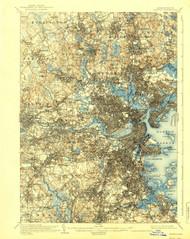 Boston, Massachusetts 1903 (1939) USGS Old Topo Map 15x15 Quad