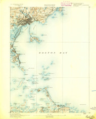 Boston Bay, Massachusetts 1892 (1892) USGS Old Topo Map 15x15 Quad