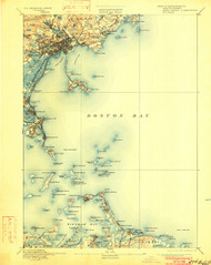 Boston Bay, Massachusetts 1892 (1901b) USGS Old Topo Map 15x15 Quad