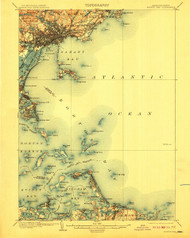 Boston Bay, Massachusetts 1903 (1910) USGS Old Topo Map 15x15 Quad