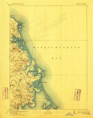 Duxbury, Massachusetts 1893 (1910) USGS Old Topo Map 15x15 Quad