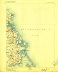 Duxbury, Massachusetts 1893 (1918) USGS Old Topo Map 15x15 Quad
