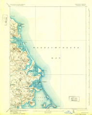 Duxbury, Massachusetts 1893 (1931) USGS Old Topo Map 15x15 Quad
