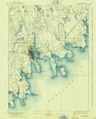 Fairhaven, Massachusetts 1893 (1940) USGS Old Topo Map 15x15 Quad