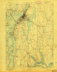 Fall River, Massachusetts . (1888) USGS Old Topo Map 15x15 Quad