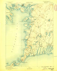 Falmouth, Massachusetts 1888 (1888) USGS Old Topo Map 15x15 Quad
