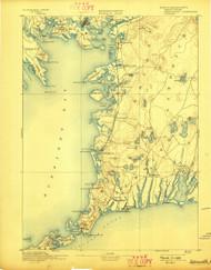 Falmouth, Massachusetts 1893 (1898) USGS Old Topo Map 15x15 Quad