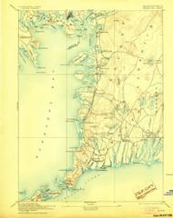 Falmouth, Massachusetts 1893 (1905) USGS Old Topo Map 15x15 Quad