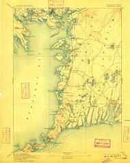 Falmouth, Massachusetts 1893 (1909) USGS Old Topo Map 15x15 Quad