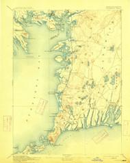 Falmouth, Massachusetts 1893 (1915) USGS Old Topo Map 15x15 Quad