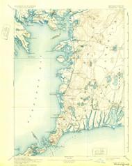 Falmouth, Massachusetts 1893 (1932a) USGS Old Topo Map 15x15 Quad