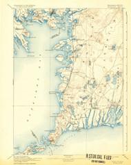 Falmouth, Massachusetts 1893 (1932b) USGS Old Topo Map 15x15 Quad