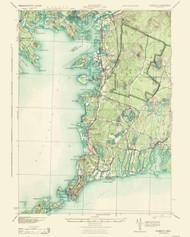 Falmouth, Massachusetts 1915 (1943) USGS Old Topo Map  EDIT 15x15 Quad