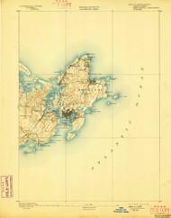 Gloucester, Massachusetts 1893 (1898) USGS Old Topo Map 15x15 Quad