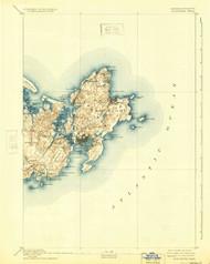 Gloucester, Massachusetts 1893 (1933) USGS Old Topo Map 15x15 Quad