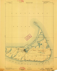 Nantucket, Massachusetts 1893 (1898) USGS Old Topo Map 15x15 Quad