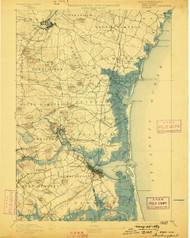 Newburyport, Massachusetts 1894 (1898) USGS Old Topo Map 15x15 Quad