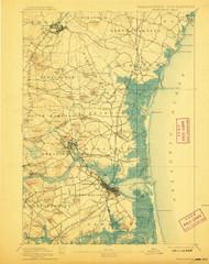 Newburyport, Massachusetts 1894 (1908) USGS Old Topo Map 15x15 Quad