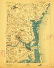 Newburyport, Massachusetts 1894 (1911) USGS Old Topo Map 15x15 Quad