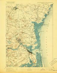 Newburyport, Massachusetts 1894 (1919) USGS Old Topo Map 15x15 Quad
