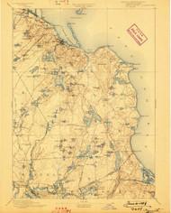 Plymouth, Massachusetts 1894 (1898) USGS Old Topo Map 15x15 Quad