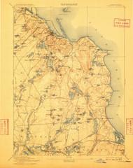 Plymouth, Massachusetts 1894 (1909) USGS Old Topo Map 15x15 Quad