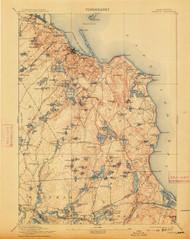Plymouth, Massachusetts 1894 (1913) USGS Old Topo Map 15x15 Quad