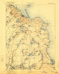 Plymouth, Massachusetts 1894 (1921) USGS Old Topo Map 15x15 Quad