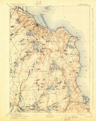 Plymouth, Massachusetts 1894 (1929) USGS Old Topo Map 15x15 Quad