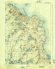 Plymouth, Massachusetts 1894 (1939) USGS Old Topo Map 15x15 Quad