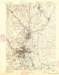 Providence, Massachusetts 1894 (1894) USGS Old Topo Map 15x15 Quad