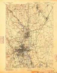 Providence, Massachusetts 1894 (1903) USGS Old Topo Map 15x15 Quad