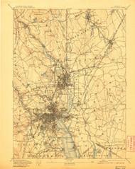 Providence, Massachusetts 1894 (1907) USGS Old Topo Map 15x15 Quad