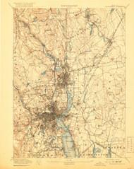 Providence, Massachusetts 1894 (1919) USGS Old Topo Map 15x15 Quad