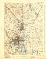 Providence, Massachusetts 1894 (1926) USGS Old Topo Map 15x15 Quad