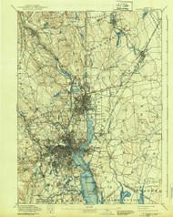 Providence, Massachusetts 1894 (1939) USGS Old Topo Map 15x15 Quad