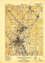 Providence, Massachusetts 1921 (1921) USGS Old Topo Map 15x15 Quad