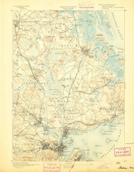 Salem, Massachusetts 1893 (1893) USGS Old Topo Map 15x15 Quad