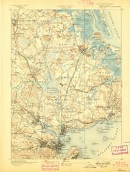 Salem, Massachusetts 1893 (1897) USGS Old Topo Map 15x15 Quad