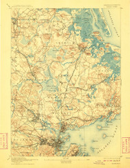 Salem, Massachusetts 1893 (1908) USGS Old Topo Map 15x15 Quad