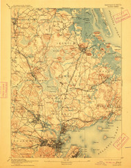 Salem, Massachusetts 1893 (1912) USGS Old Topo Map 15x15 Quad