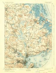 Salem, Massachusetts 1893 (1936) USGS Old Topo Map 15x15 Quad