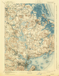 Salem, Massachusetts 1893 (1940) USGS Old Topo Map 15x15 Quad